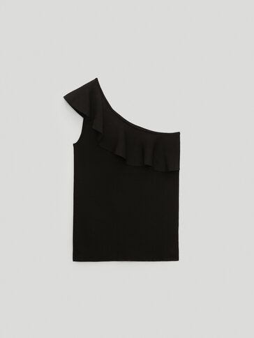 Asymmetric top with ruffled trim
