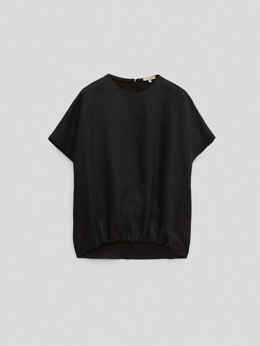 100% linen black top with hem detail - Limited Edition