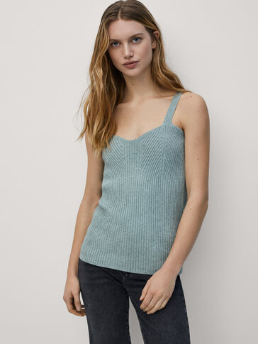 Strappy ribbed knit top