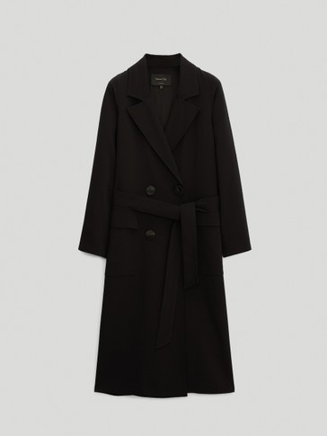 Black crepe trench coat