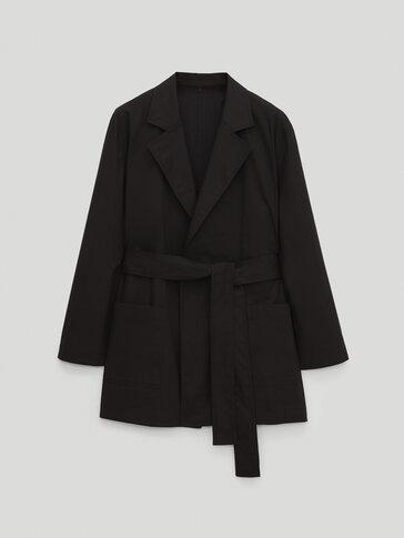 Veste tailleur noire en popeline