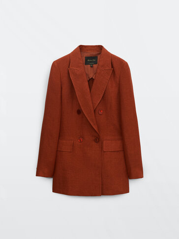 Double-breasted 100% linen blazer
