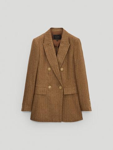 100% linen striped blazer