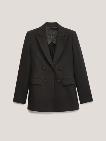 Black mock double-breasted blazer