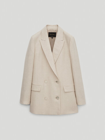 Double-breasted linen blazer