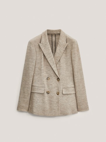 Wool and cotton double-breasted blazer