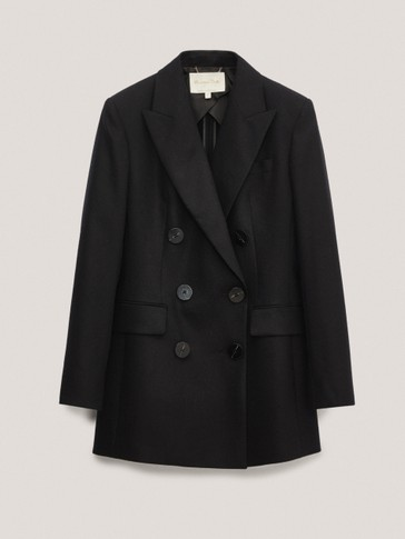 Black wool double-breasted blazer