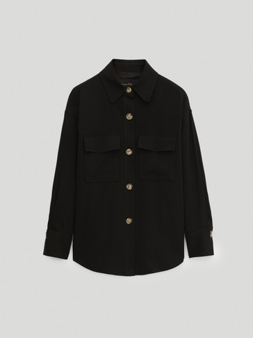 Black crepe overshirt