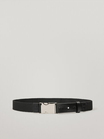 Fabric and leather contrast belt