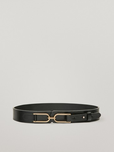 Calfskin leather belt with horsebit detail