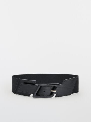 Belt with diamond buckle
