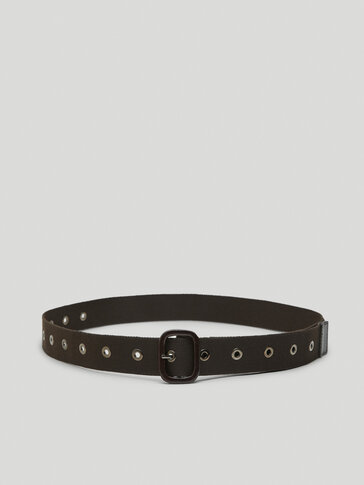 Belt with leather details and eyelets