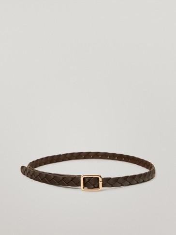 Thin braided leather belt