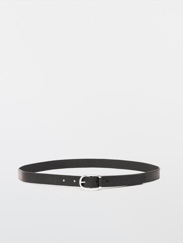 Double-buckle black leather belt