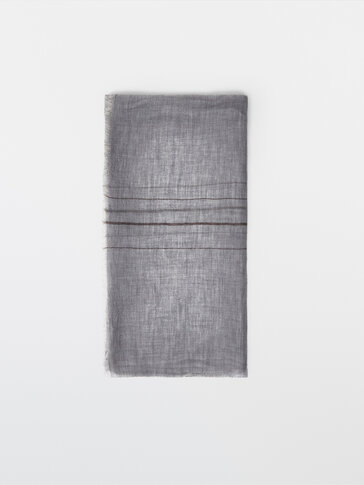 Striped 100% wool scarf