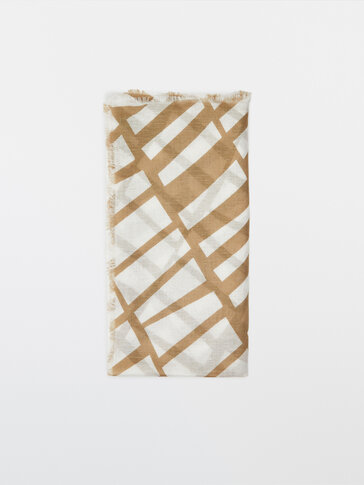 Modal and linen geometric print scarf