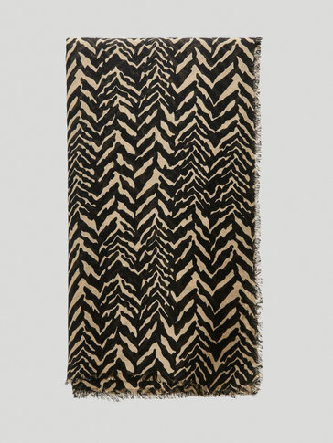Linen modal herringbone print scarf