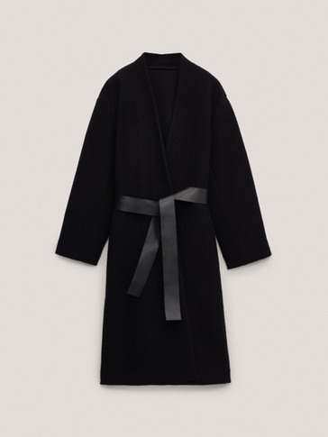 Black wool coat with leather belt