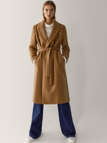 Wool dressing gown coat