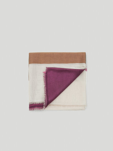 Colour block modal wool scarf