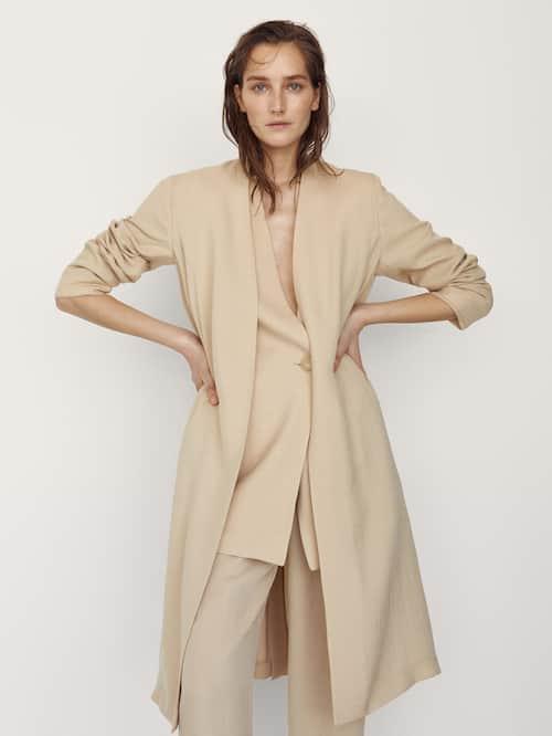 마시모두띠 Massimo Dutti Long dust-bag-style coat,CREAM
