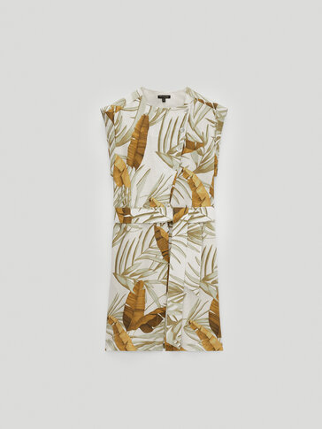 100% linen tropical print dress