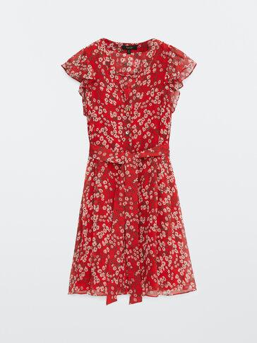Vestido corto estampado flores