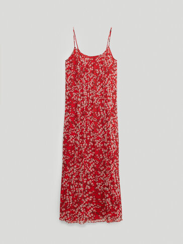 Long strappy floral print dress