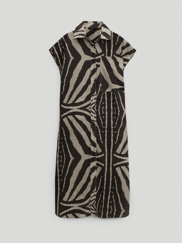 Linen cotton zebra print dress