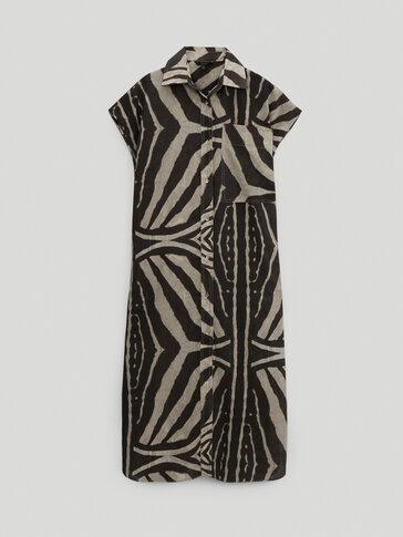 Vestido estampado cebra algodón lino