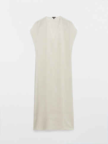 Long linen cotton jacquard dress