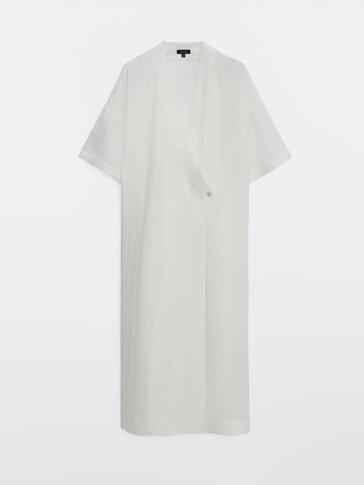 Crossover 100% linen dress