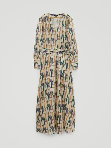 Linen and cotton printed dress