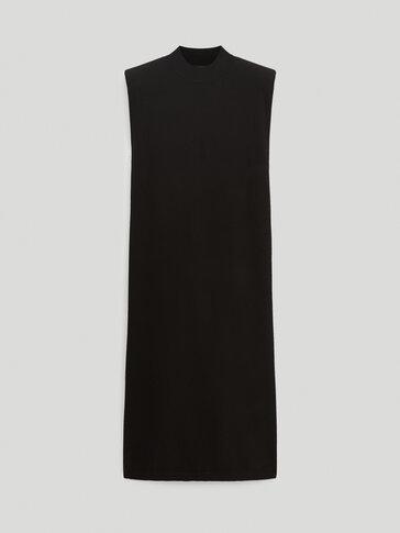 Tricot jurk met schoudervulling