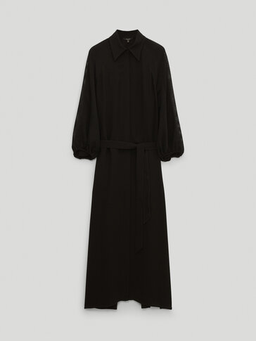 Long black dress with sleeve detail