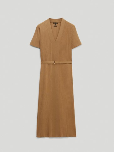 Ribbed knit V-neck dress
