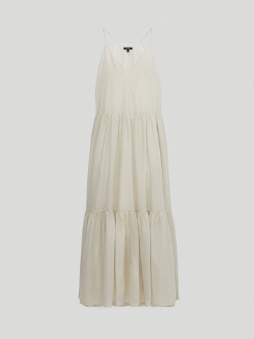 Long silk and cotton strappy dress