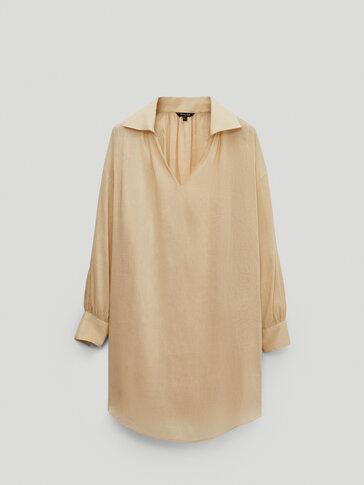 Silk and linen oversize blouse with gathered shoulder