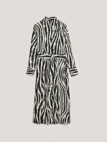 Langes Kleid mit Zebraprint