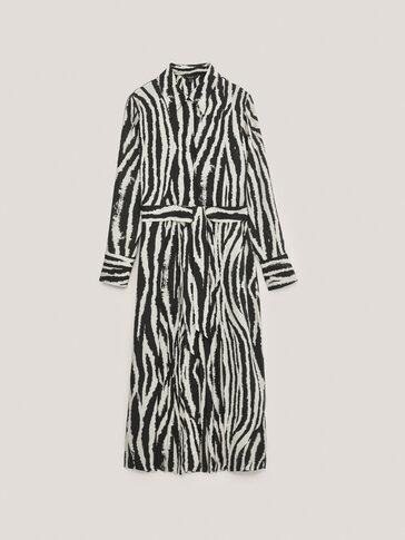Vestido largo estampado cebra