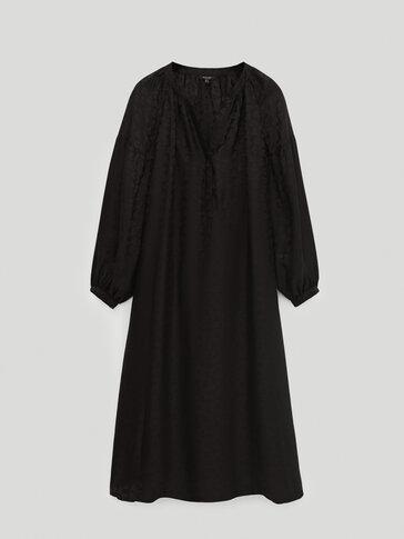 Черна жакардова рокля