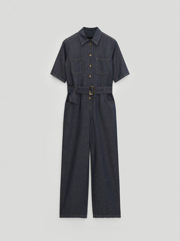 Denim jumpsuit with short sleeves