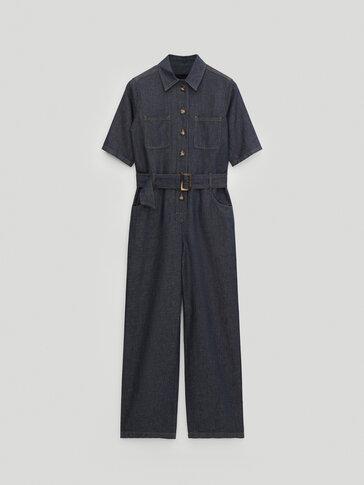Combinaison en jean à manches courtes