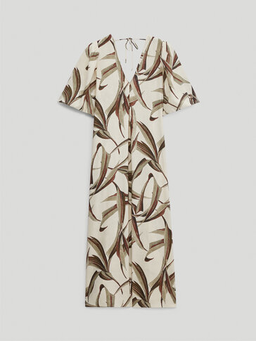 Long linen dress with leaf print