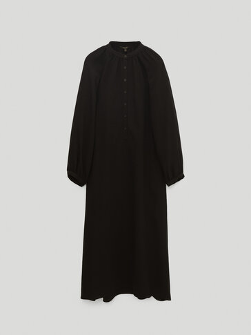 Vestido negro manga abullonada