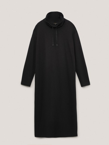 Black funnel neck dress