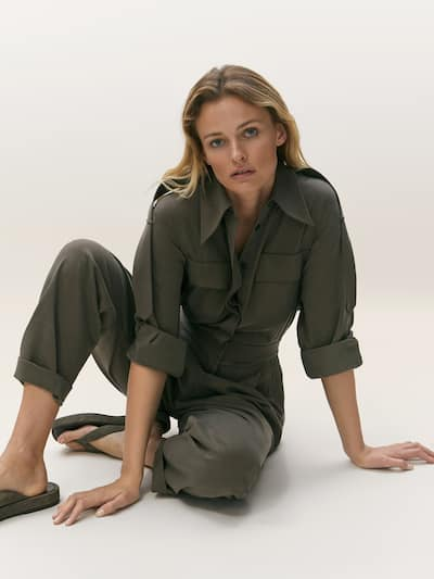 마시모두띠 Massimo Dutti Cotton and lyocell jumpsuit with pockets,KHAKI