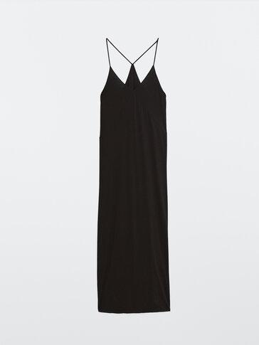 Robe longue à bretelles noire