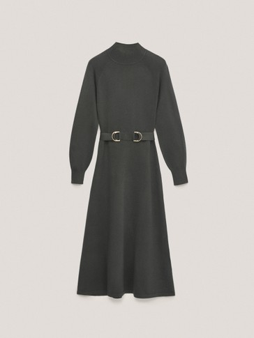 Long mock turtleneck dress with belt