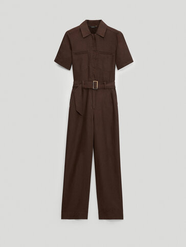 100% linen short sleeve jumpsuit